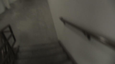 Descending Stairwell stock footage