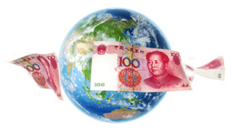 YUAN Banknotes Around Earth on White (Loop) Animation