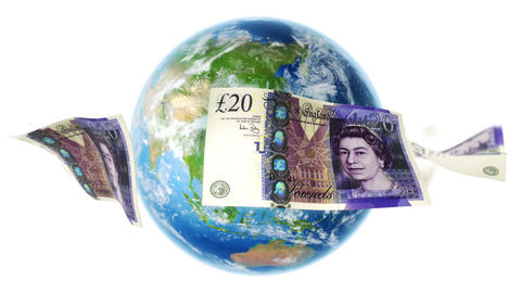 GBP Banknotes Around Earth on White (Loop) Animation