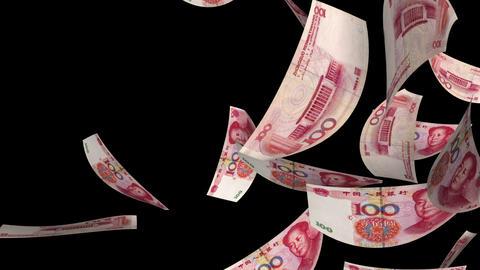 Falling Yuan (Loop + Matte) stock footage