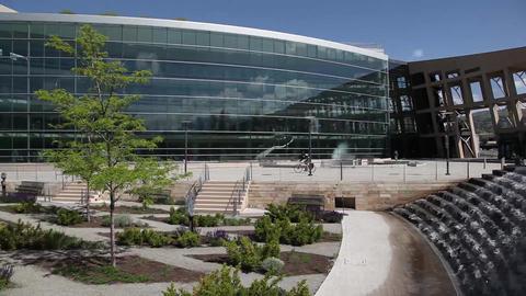 Salt Lake City library fountain Footage