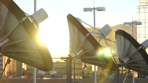 satellite dishes and sun Footage