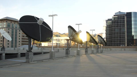 satellite dishes wide pan Footage