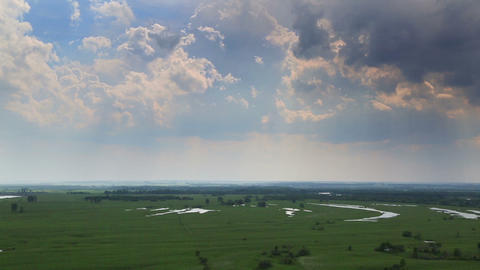 timelapse landscape with clouds and rain on horizo Footage