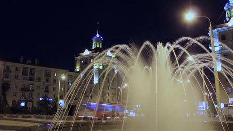 Fountain at main street of Zaporizhzhya, Ukraine a Footage