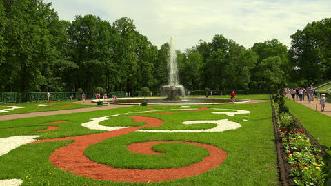 Fountain Bowl. Peterhof. Fountains. Petrodvorets.  Footage