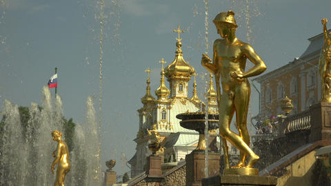Separate Fountains of the Grand cascade. Peterhof. Footage