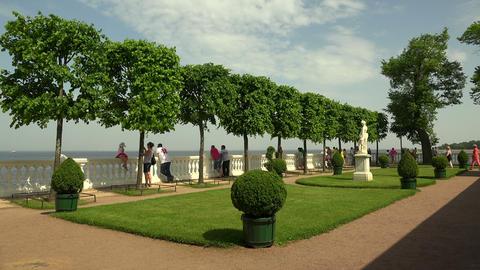 Balcony Monplaisir Palace. Peterhof. Fountains. Pe Footage