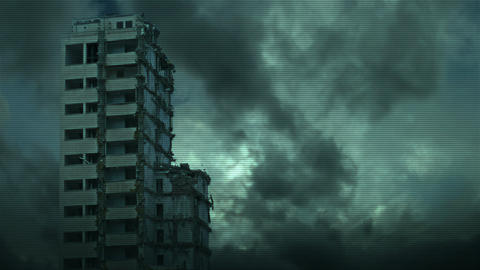 Destroyed skyscraper - view from industrial camera Animation