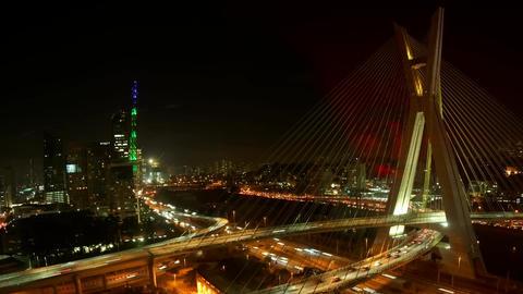 Ponte Estaiada bridge built over the Pinheiros Riv Footage