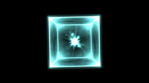 Rotating Glowing Cube Animation - Loop Blue Animation
