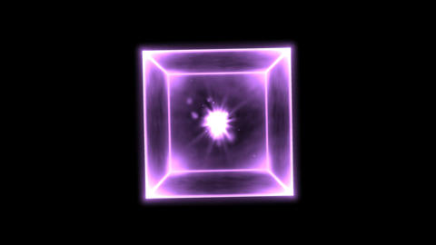 Rotating Glowing Cube Animation - Loop Purple Animation