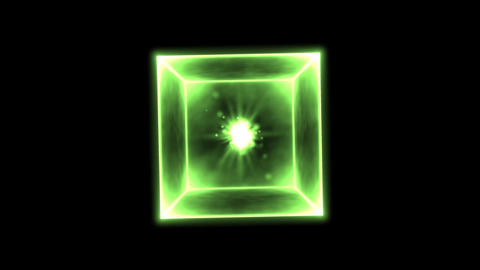 Rotating Glowing Cube Animation - Loop Green Animation