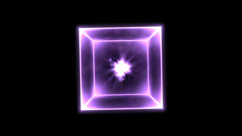 Rotating Glowing Cube Animation - Loop Rainbow stock footage