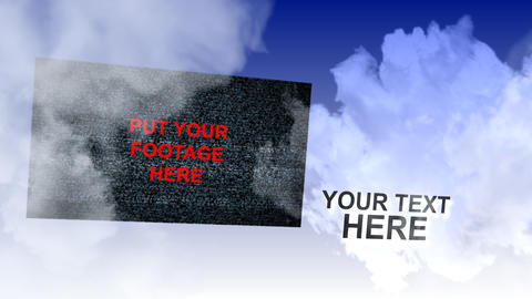 screens and text flying in clouds After Effects Template