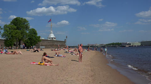 The beach near the Peter and Paul fortress. St. Pe Footage