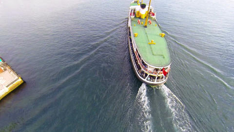 Flying Over Istanbul Ferryboat stock footage