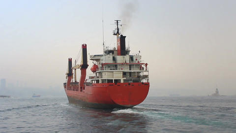 Red cargo ship Footage