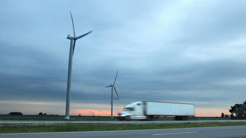 Wind Farm by Highway (Two Shots) Footage