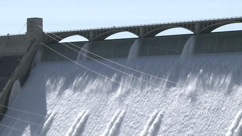 Grand Coulee Hydroelectric Dam with people Live Action