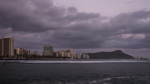 Waikiki Beach & Diamond Head Time Lapse Video stock footage