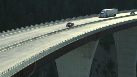 Truck on high bridge 03 Footage