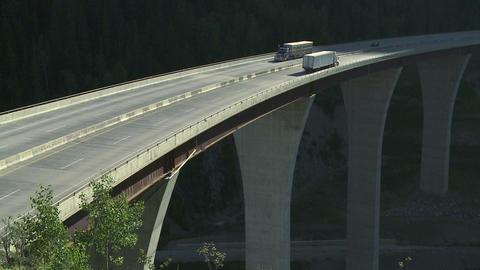 Trucks on high bridge 09 Footage