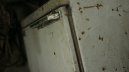Decaying Rust Spot Fridge 29,97fps stock footage