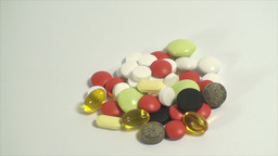 Pills Piled Up On A White Background, Medical, Med stock footage
