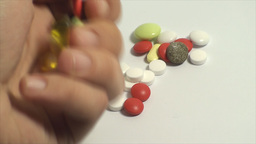 Hand Picking Up Pills On A White Background, Medic stock footage