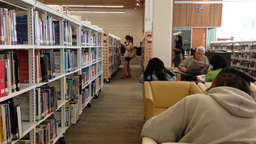 One side of people enjoying reading inside library Footage
