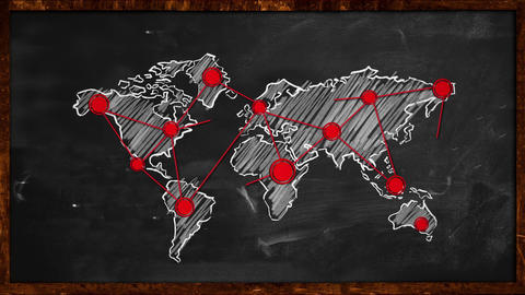 World Dot Red Connection on Blackboard Animation