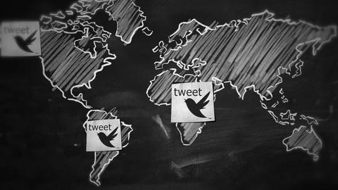 Tweet Connection World Motion Graphic stock footage