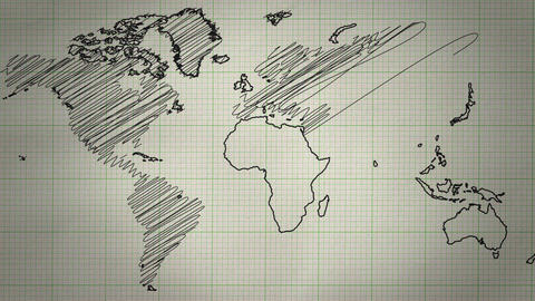 World Map Drawing Background Animation