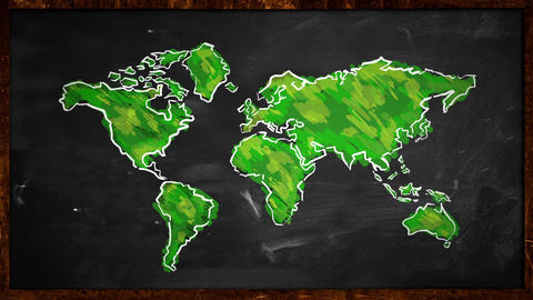 World Sketch Green Painting On Blackboard Looping  stock footage