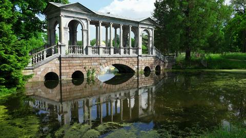 Marble Bridge. Pushkin. Catherine Park. Tsarskoye  stock footage