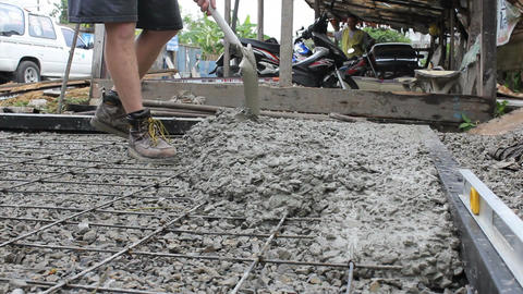 Missions Team Shovelling Fresh Cement For Project Footage