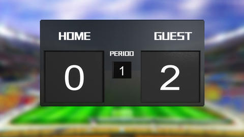 soccer match home win at period 2 Animation
