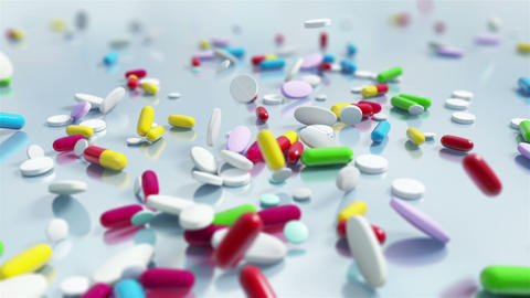 Slow motion Pill Capsules Falling Animation