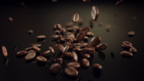 Coffee beans slow motion falling Animation