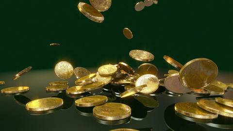Coins Falling in slow motion Animation