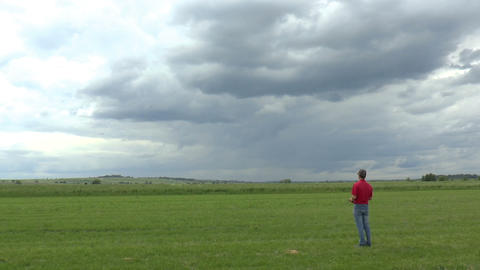 Man Launches RC Glider in the Sky, panoramic view Footage