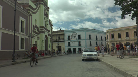 typical street scene in cuba, city of camagüey Footage