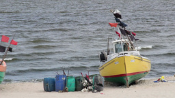 Fishing Boat On The Seashore Of The Baltic Sea 1 stock footage