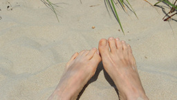 Bare Feet On The Sand - Beach stock footage