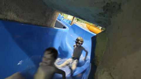 Slides at the Water Park Footage
