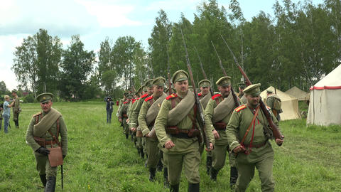 The guard of Russian soldiers. The first world war Footage