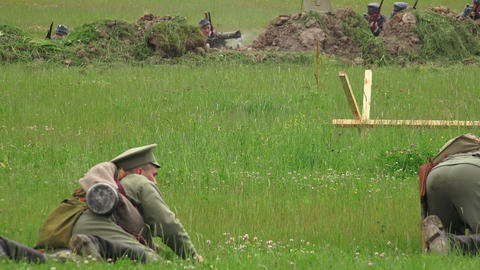 Attack Of German Soldiers. The First World War. WW stock footage