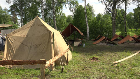 Military tent camp. The first world war. 4K Footage