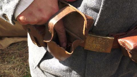 Bag for ammo belt soldier. The first world war. 4K Footage